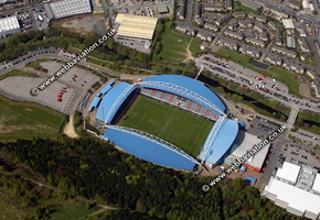 Huddersfield football stadium  aerial photo