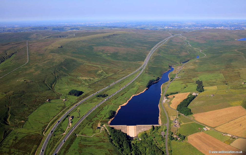 Booth Wood Reservoir & M62 aerial photograph