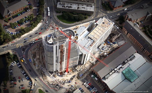 Bridgewater Place during construction from the air