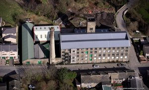 Albion Mill Meltham West Yorkshire from the air