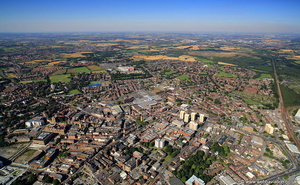 Wakefield, West Yorkshire from the air