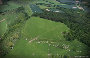 Fosbury Camp  bivallate Iron Age hillfort Wiltshire  aerial photograph