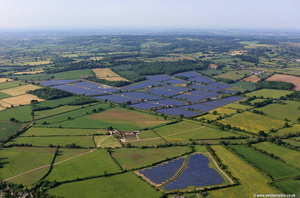 Solar Farm at Redstocks near Melksham Wiltshire,   aerial photograph