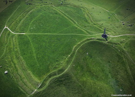 Oldbury Castle iron age  hill fort near Cherhill Wiltshire  aerial photograph