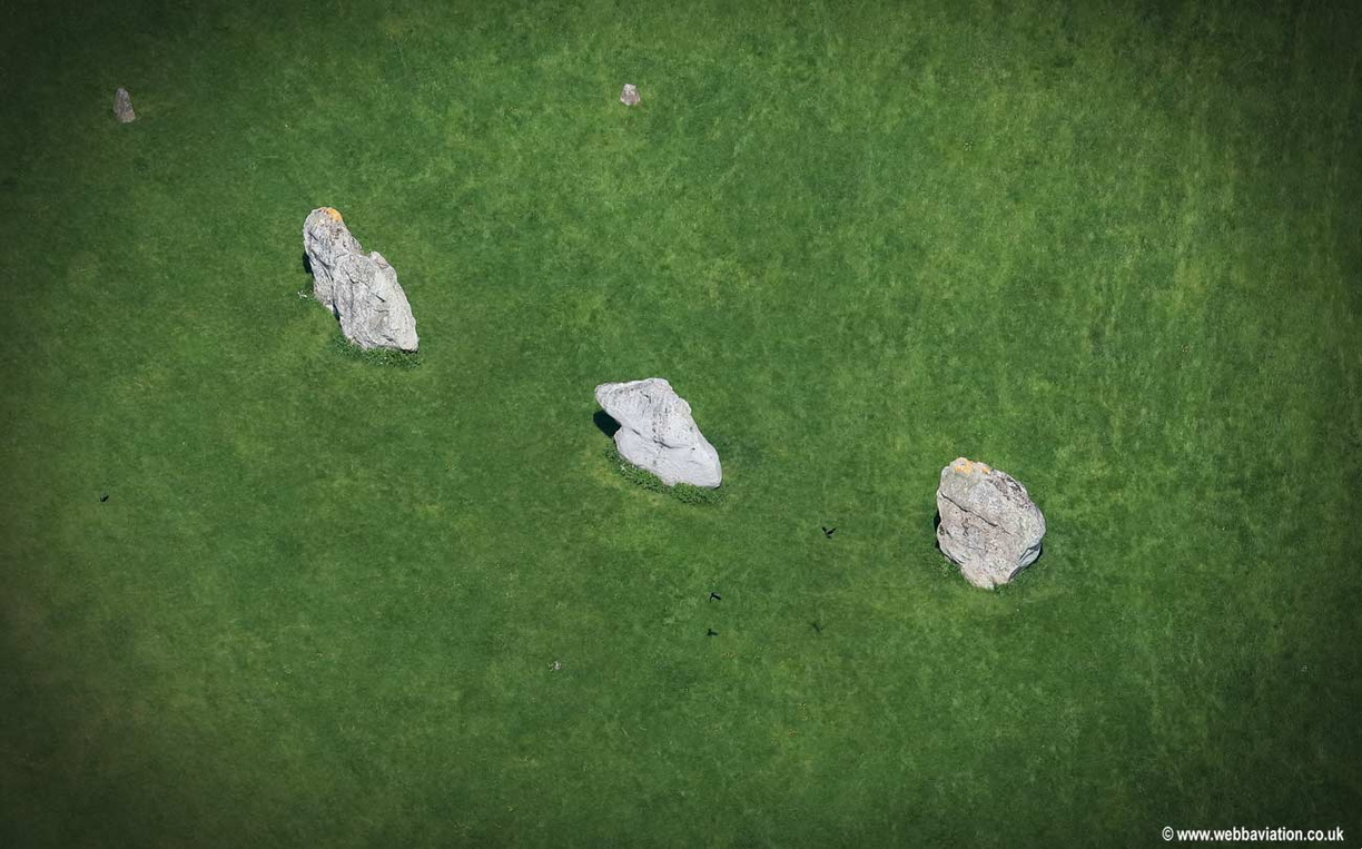 Sarsen Stones at Avebury stone circle  aerial photograph