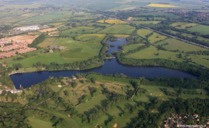 Coate Water Country Park Swindon UK aerial photograph