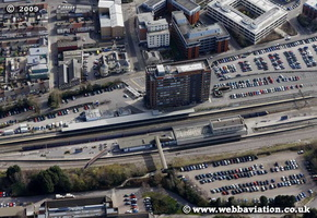 railway station  aerial photo