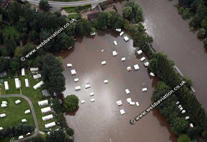 flooded caravans at Holt Fleet   Worcestershire aerial photograph