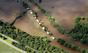 Hawford during the great River Severn floods of 2007 from the air