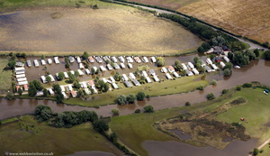 Offenham Park Caravan Site  during the great  floods of 2007 from the air