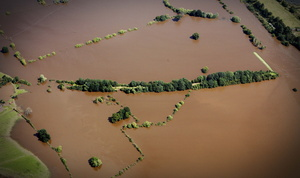 the  Tewkesbury and Malvern Railway embankment  during the great floods of 2007 from the air