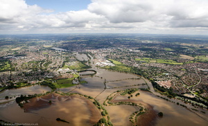 Worcester during the great River Severn floods of 2007 from the air