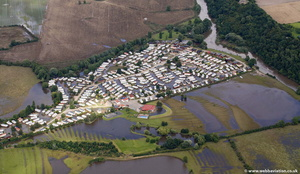 Abbots Salford Holiday Park  Evesham Worcestershireduring the great River Severn floods of 2007  aerial photograph