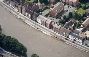 effective flood defenses in Bewdley   during the great River Severn floods of 2007  aerial photograph