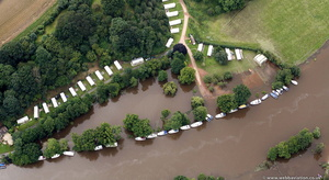Holt Fleet  Worcestershire  during the great River Severn floods of 2007  aerial photograph