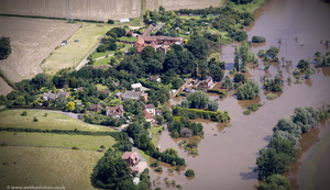 Clavelode, Malvern Worcestershire during the great River Severn floods of 2007  aerial photograph