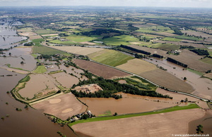 Clifton, Worcestershire during the great River Severn floods of 2007  aerial photograph