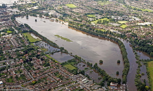 flooded Worcester Racecourse  during the great River Severn floods of 2007 from the air