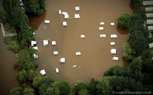 flooded caravans at Holt Fleet, Worcester WR6 during the great River Severn floods of 2007  aerial photograph