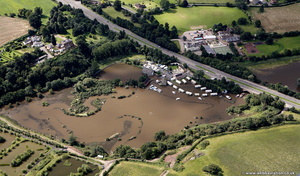 flooded Mill House Caravan & Camping Site  Hawford during the great River Severn floods of 2007 from the air