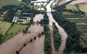 flooded caravan sites Holt Fleet  during the great River Severn floods of 2007 from the air