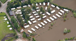 flooded Holt Fleet Caravan site  during the great River Severn floods of 2007 from the air