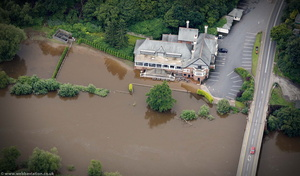 The Holt Heath Pub during the great River Severn floods of 2007 from the air