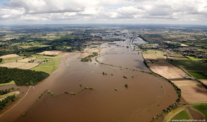 flooding on River Severn Worcestershire WR6 during the great River Severn floods of 2007 from the air