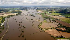 flooded  River Severn at Clifton Worcestershire from the air
