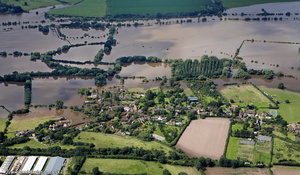 Uckinghall  during the great floods of 2007 from the air