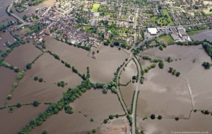 Upton-upon-Severn  during the great floods of 2007 from the air