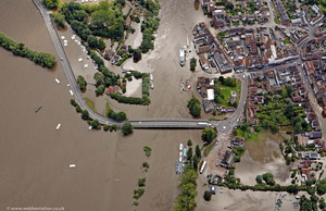 Upton Bridge  during the great floods of 2007 from the air