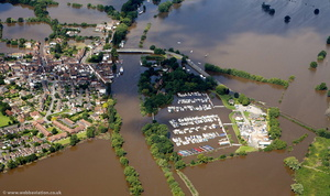 Upton Marina during the great floods of 2007 from the air