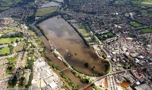 Worcester race course  during the great River Severn floods of 2007  aerial photograph