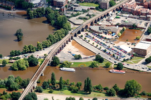 Worcester railway viaduct during the great floods of 2007 from the air