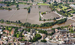 Worcester during the great floods of 2007 from the air
