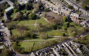 Christ's Pieces park in  Cambridge from the air