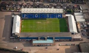 London Road,aka  the ABAX Stadium Peterborough, England UK home ground of Peterborough United aerial photograph