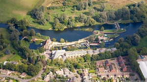 River Great Ouse Lock and Wier in Saint Neots   from the air
