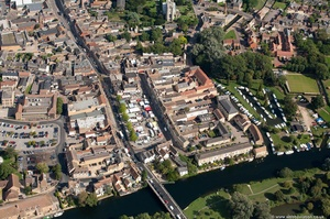 market on High Street St Neots from the air