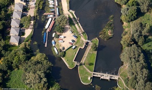 River Great Ouse Lock and Weir in Eaton Socon, Saint Neots  from the air