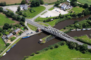 Acton Bridge swing bridge Cheshire  aerial photo