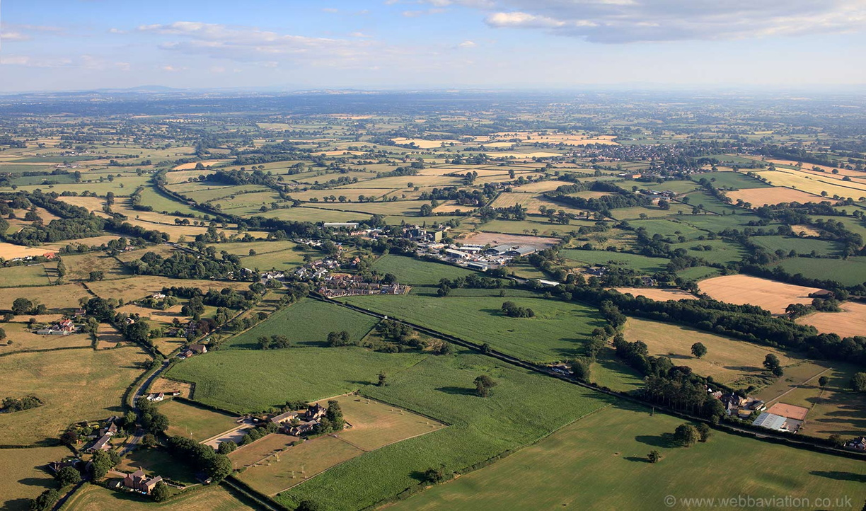 Cheshire plain with the Village of Hampton Heath in the foreground  from the air