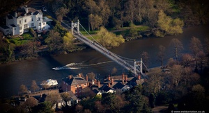 Queen's Park Suspension Bridge, Chester from the air