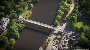 Queen's Park Suspension Bridge Chester from the air
