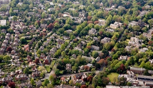 leafy suburbs of   Altrincham   from the air