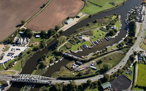 boat moorings along the River Weaver at  Acton Bridge Cheshire from the air