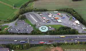 Burtonwood services, motorway service station on the M62  aerial photograph