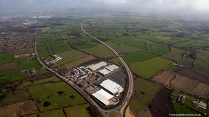 end of the M56 motorway  aerial photo