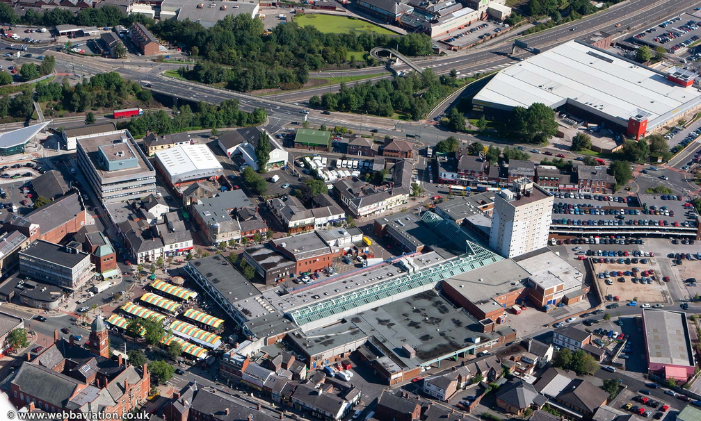 Clarendon Square Shopping Centre Hyde Cheshire UK  from the air